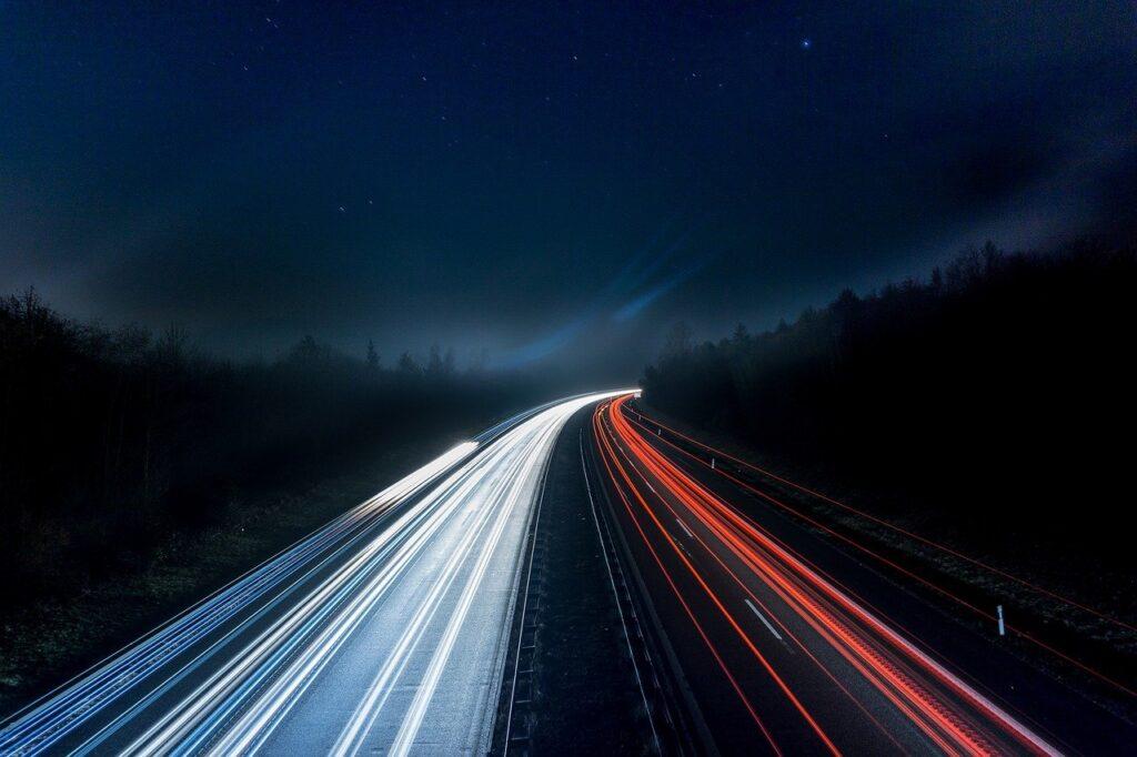 highway, lights, night
