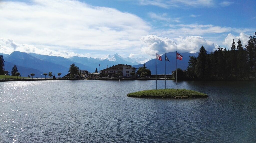 lake, crans-montana, crans