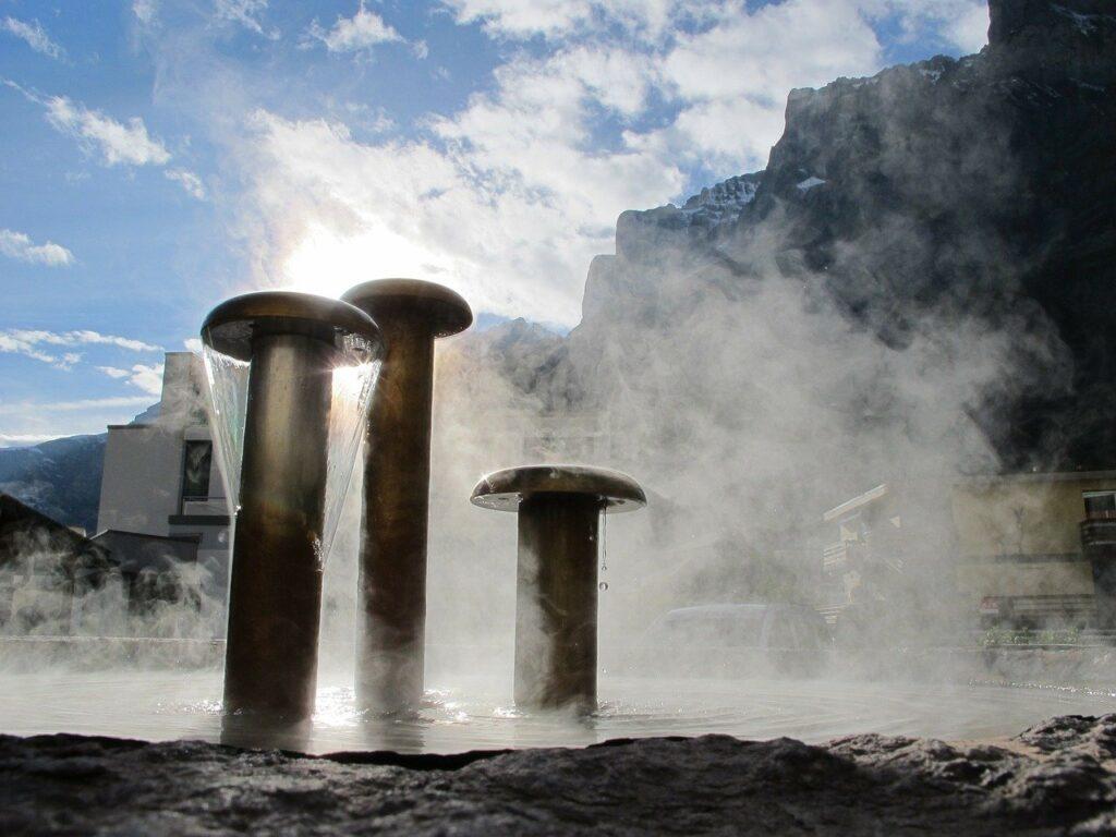 leukerbad, thermal water, fountain